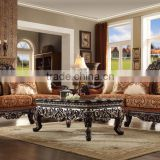 Luxury Classic Wooden Hand Carved Black Walnut Living Room Furniture Sofa (MOQ=1 Set)