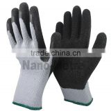 NMSAFETY 10 gauge grey polycotton liner black crinkle latex work gloves cotton wholesale