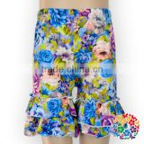 Baby Girls Double Ruffle Milk Silk Material Floral Shorts Childrens Young Girls Up Shorts Design Your Own Board Teen Girl Shorts