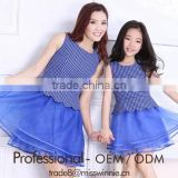 hot selling blue spot bubble lace sleeveless parent-child frock dress Mother and Daughter dress design