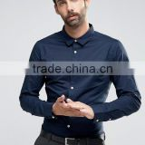 High Quality Custom Long Sleeve Spread Collar Mens Lightweight 100% Cotton Casual Navy Solid Slim Shirts