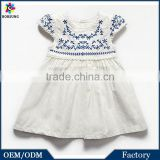 European High Quality Cap Sleeve 100% Linen Baby Girl Summer Dress Embroidred Boutique Baby Clothes