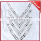 neckline rhinestone appliques with glue patchapplique