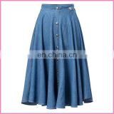soft thin denim fabric long pleated skirt elastic waist band and middle buttons lady jeans skirt