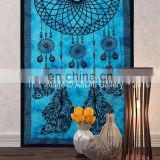 Indian Handmade Twin Size Wholesale Tapestry Turquoise Dream Catcher Spread Boho Wall Bohemian Psychedelic Tapestry