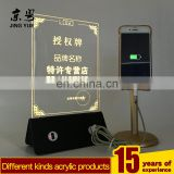 Yellow light rechargeable acrylic pmma led menu holder with dual usb charger led menu holder with usb charger