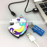 Creative cute 3D soft pvc cartoon animal unicorn 4 ports USB HUB