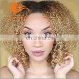 honey blonde kinky curly full lace wig ombre color wig 4# T 27# short bob style human hair wig 150%density
