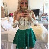 Vestidos de renda Long Sleeve Short Homecoming Dresses Lace Pearls Mini Party Gown 8th Grade Graduation Dress Zipper