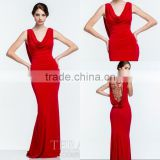 Elegant Long Beaded See Through Back Bowl Neck Red Evening Dress Sweep Train