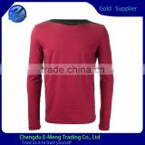 Dark red boat neck t-shirts for man long sleeve tshirt in china