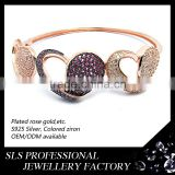 Fashion lover's gift heart in heart design for ladies bangle silver custom rhinestone heart charm bangles