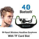 mobile phone accessories S9 sport wireless bluetooth headphone headset with TF card slot