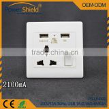 Hotel /Home/ Airport/ Residential Universal Wall Power Socket switch led control with dual USB charging 4.8amp 250V 16A