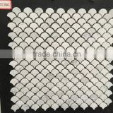 Carrara White Medium Fish Scale Fan Shaped Mosaic Tile