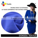 dark blue 64%Polyester 34%rayon 2%spandex fabric for woman clothes T/R spandex fabric double-deck for ladies trousers
