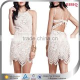 cheap china wholesale clothing sexy crochet dresses backless modern slim short skater dress white sheer lace mini dresses