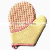100% polyester bath mitt popular body cleaning bath glove for bathroom set