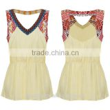 OEM service new fashion design slim custom fit sleeveless national beige color women tank tops