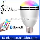 led , twinkler smart led light music audio speaker 10w e27 rgb light lamp , bluetooth speaker mini led light