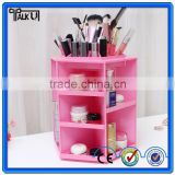 Modern rotatable pink acrylic cosmetic organizer with lipstick holder, custom professional storage organizer cosmetic organizer