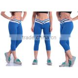 New arrival sports fashion yoga wear stitching cross knee length silm leggings for women yoga pants