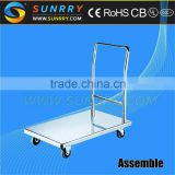 2015 China Round Stainless Steel foldable Kitchen Trolley Food Cart Mobile And Car Restaurant