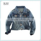 2015 hot sale button Two chest pockets long sleeves denim Jacket for kids