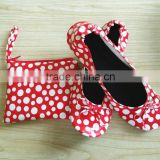 PU Leather Red And White Polka Dots Printing Dancing Ballet Shoes Fold Up Dolly Shoes With The Carrying Case