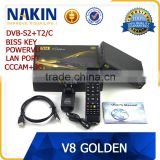 2016 New Arrival updated version V8 Golden DVB-S2+T2/Cable 1080P HD satellite receiver                                                                         Quality Choice