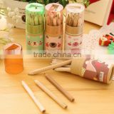 Best amazon promotion gift DIY creative stationery Novelty 12 Color Marking drawing pencil wax Crayons for Wooden with sharpener