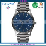 FS FLOWER -Young Men's Stainless Steel Watch Royal Blue Japan Movement PC21 Quartz Watch SR626sw Waterproof Watch