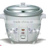white outer shell flower printed rice cooker /mini rice cooker with extra steamer