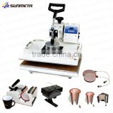 Sunmeta factory directly 8 in 1 combo heat press machine, cap T-shirt heat press machine
