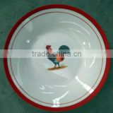 Linyi Factory porcelain soup plate with animal design and red edge , porcelain cock plate
