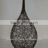 antique metal hanging candle holders lantern knotted rattan ball big size d12.5x25-55""