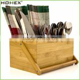 Hot Sell Cutlery Caddy Flatware Holder/Bamboo Cutlery Organizer for Kitchen/Homex_FSC/BSCI Factory