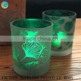 Fluorescent green colored glass votive candle holder,spray printed glass candle jar for home decoration