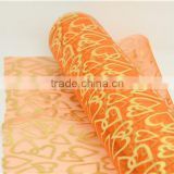 organza fabric roll gold heart print flower wrapping gift packing floral wrapping organza roll