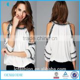 Women tops and blouses 2017 summer fashionable cut out fringed splicing women's blouse