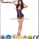 Hot sexy lingerie black transparent erotic women wear babydoll dress manufacture