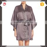 Cheap Satin Robes Wrap for Women with Kimono Sleeves and Drop Shoulders in Textural Silk Blend