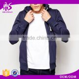 2016 guangzhou shandao autumn casual mens dark blue CVC polyester cotton blend custom tags zip up blank no logo hoodies