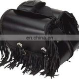 HMB-4038A LEATHER MOTORCYCLE SADDLE BAGS SET FRINGES BRAIDED STYLE