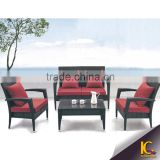 Luxury Outdoor Furniture Garden Cheap Rattan Leisure Sofa Set with Red Cushion