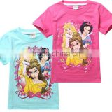 2015 New girls cartoon summer snow white t-shirts kids lovely princess cotton t shirt baby cute leisure tees tops 2 colors