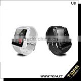 U8 smart watch phone +pedometer + altimeter + barometer +answer call + music display +message +anti lost + remote camera