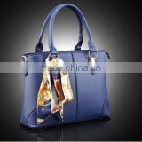Bostom bag leisure PU handbag with silk bowknot ribbon custom beautiful leather handbag tote bag for lady in guangzhou