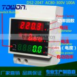 Din rail LED AC 80-300V 99.9A voltmeter ammeter display active power and power factor time Energy meter voltage current