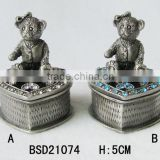 High quality customized antique silver plating little bear shape jewelry box with crystal stone